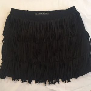 Zara Basic Black Three Layer Fringe Skirt Small